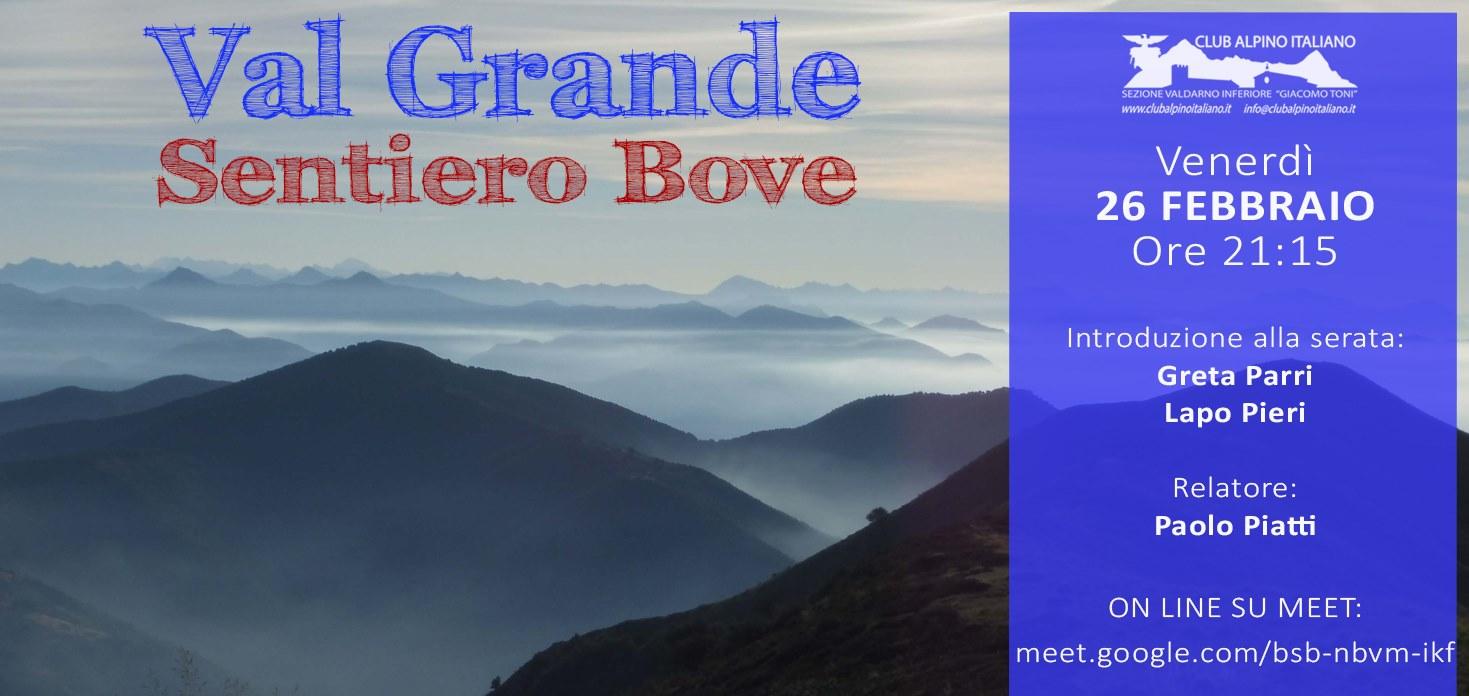 VAL GRANDE - SENTIERO BOVE - Google Meet Venerdì 26 febbraio